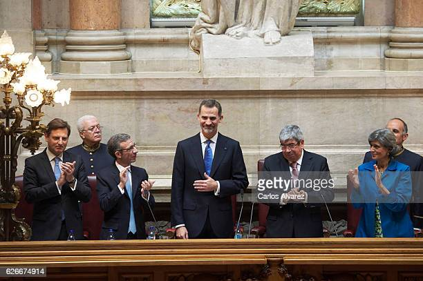 King Felipe of Spain visits the National Assembly at Palacio de Sao Bento during his official visit to Portugal on November 30 in Lisbon Portugal