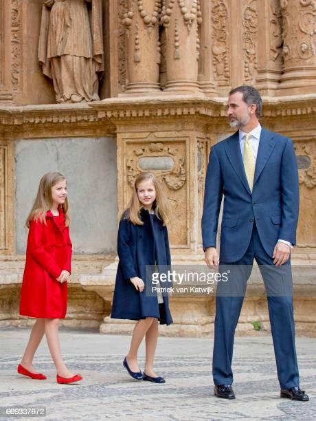 King Felipe Princess Leonor and Princess Sofia of Spain attend the easter mass on April 16 2017 in Palma de Mallorca Spain