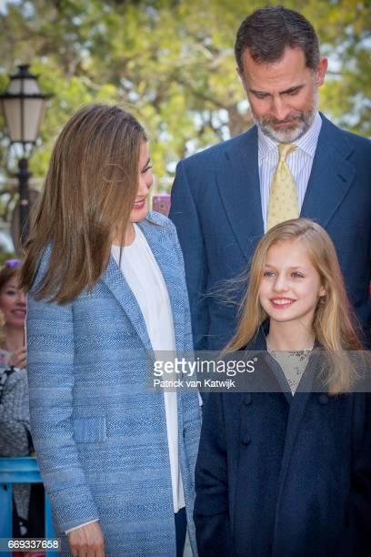 King Felipe Queen Letizia and Princess Leonor of Spain attend the easter mass on April 16 2017 in Palma de Mallorca Spain