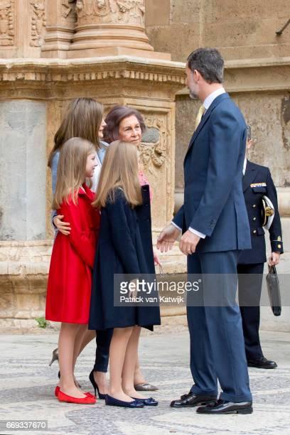 King Felipe Queen Letizia Princess Leonor and Princess Sofia of Spain attend the easter mass on April 16 2017 in Palma de Mallorca Spain