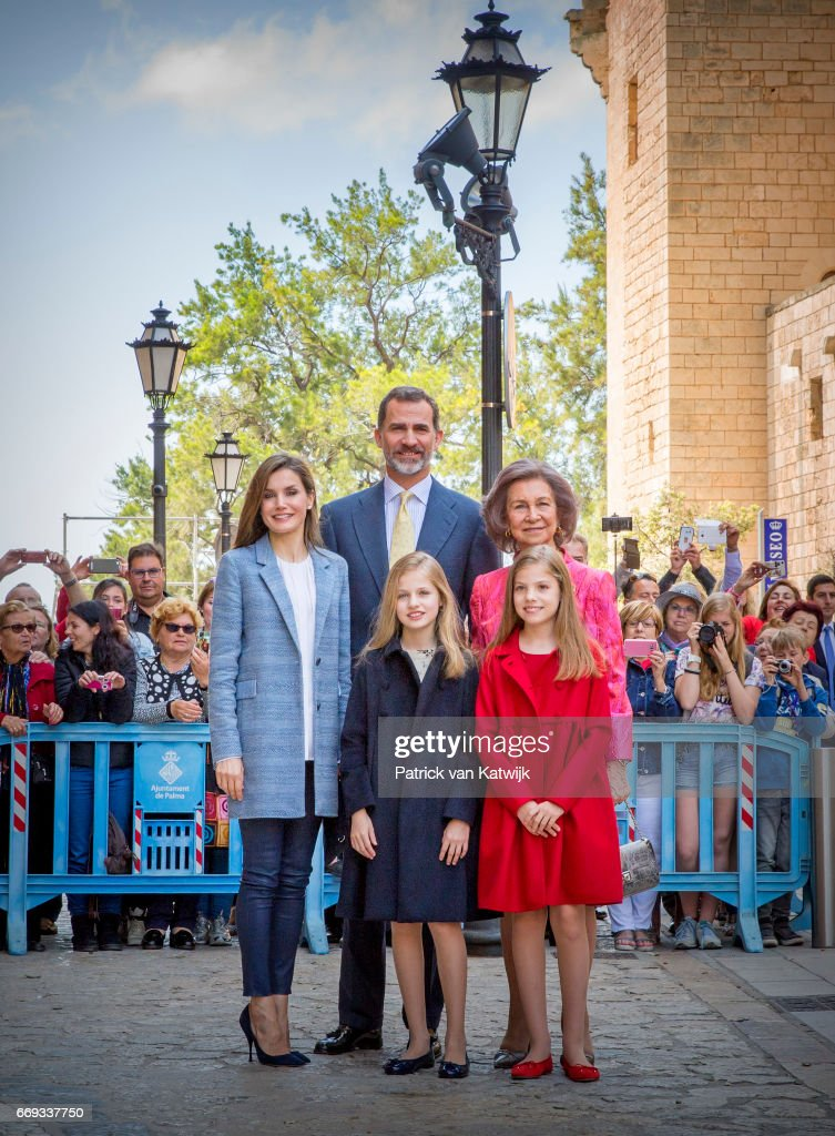 King Felipe, Queen Letizia, Queen Sofia, Princess Leonor and Princess Sofia of Spain attend the easter mass on April 16, 2017 in Palma de Mallorca, Spain.
