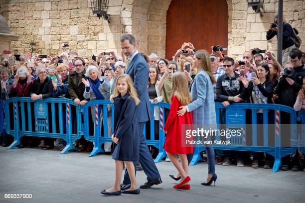 King Felipe Queen Letizia Queen Sofia Princess Leonor and Princess Sofia of Spain attend the easter mass on April 16 2017 in Palma de Mallorca Spain
