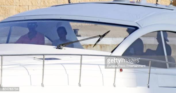 King Felipe Queen Sofia and her grandsons Juan Valentin Urdangarin and Pablo Nicolas Urdangarin are seen on July 29 2017 in Palma de Mallorca Spain