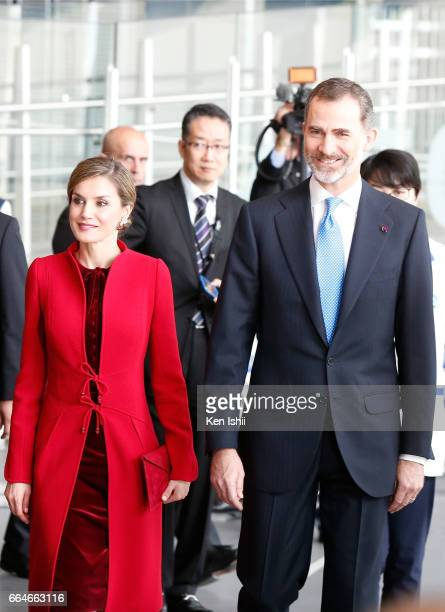 King Felipe VI and Queen Letizia arrive during their visit to the National Museum of Emerging Science and Innovation on April 5 2017 in Tokyo Japan...