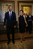 King Felipe VI and Queen Letizia of Spain arrive for a meeting with the US Senate Foreign Relations Committee September 14 2015 on Capitol Hill in...