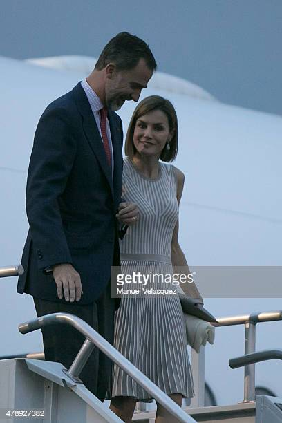 King Felipe VI and Queen Letizia of Spain arrive to Mexico as part of their official working visit at Mexico City International Airport on June 28...