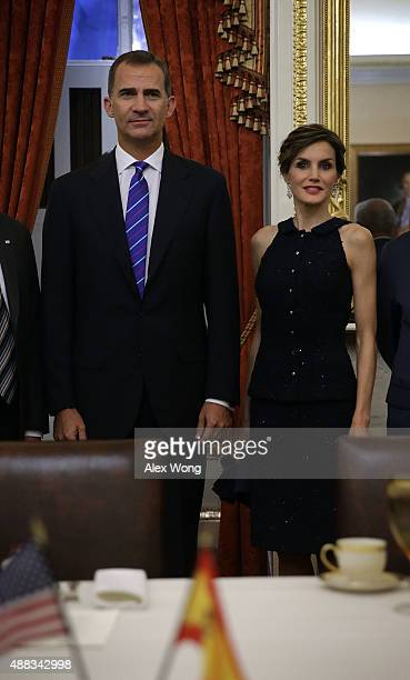 King Felipe VI and Queen Letizia of Spain during a photoop prior to a meeting with the US Senate Foreign Relations Committee September 14 2015 on...