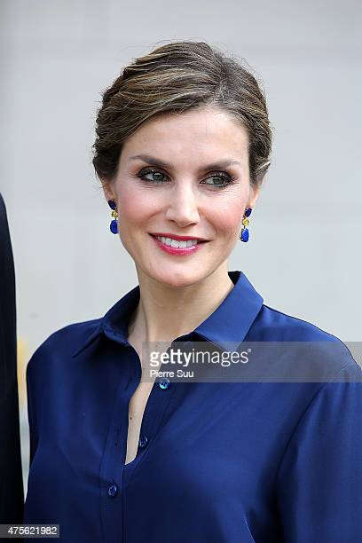 King Felipe VI and Queen Letizia of Spain visit the Velasquez Exhibition at Le Grand Palais on June 2 2015 in Paris France