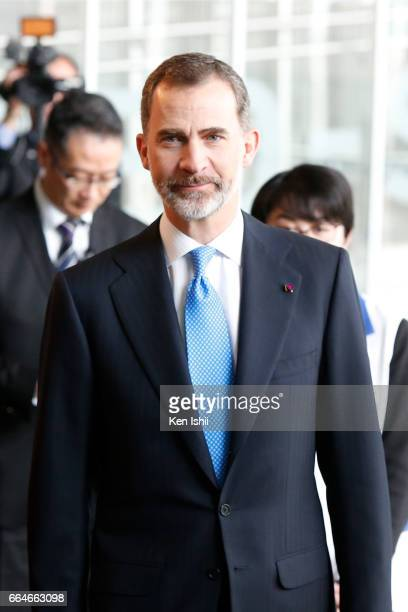 King Felipe VI is seen during their visit to the National Museum of Emerging Science and Innovation on April 5 2017 in Tokyo Japan King Felipe VI and...