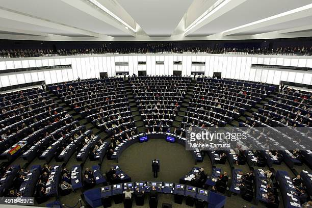 King Felipe VI of Spain addresses his speech to the members of the european Parliament in the plenary room of the EU Parliament on October 7 2015 in...