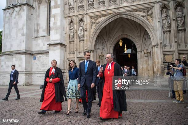 King Felipe VI of Spain and his wife Queen Letizia leave Westminster Abbey during a State visit by the King and Queen of Spain on July 13 2017 in...