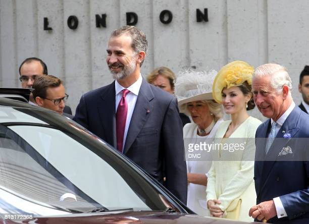 King Felipe VI of Spain and his wife Queen Letizia of Spain is seen leaving the ME Hotel during there state visit to the United Kingdom on July 12...