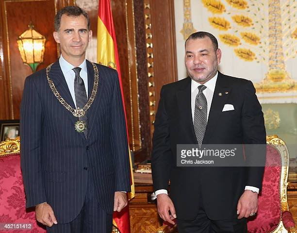King Felipe VI of Spain and King Mohammed VI of Morocco in the Royal Palace on July 14 2014 in Rabat Morocco The new King and Queen of Spain are on a...