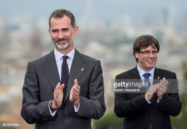 King Felipe VI of Spain and President of Catalunya Carles Puigdemont attend the 25th anniversary of the Barcelona Olympics at the Palacete Albeniz on...