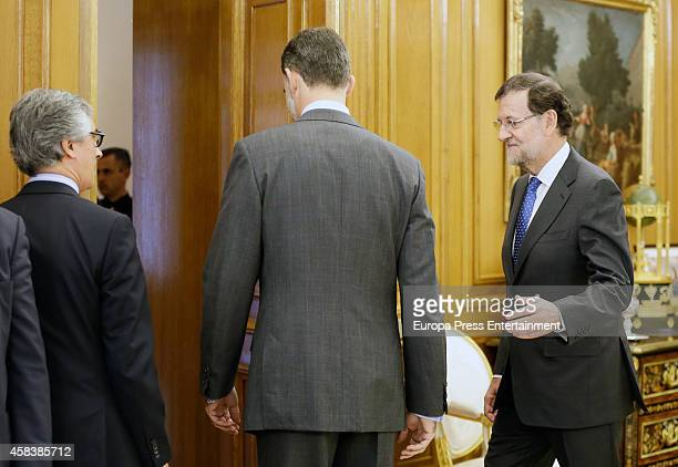 King Felipe VI of Spain and Prime Minister Mariano Rajoy attend a lunch meeting at Zarzuela Palace on November 3 2014 in Madrid Spain
