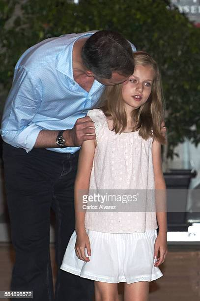 King Felipe VI of Spain and Princess Leonor of Spain are seen at the Flaningan Restaurante on July 31 2016 in Portals Nous near of Palma de Mallorca...