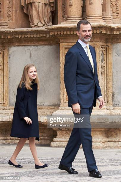 King Felipe VI of Spain and Princess Leonor of Spain attend the Easter Mass at the Cathedral of Palma de Mallorca on April 16 2017 in Palma de...