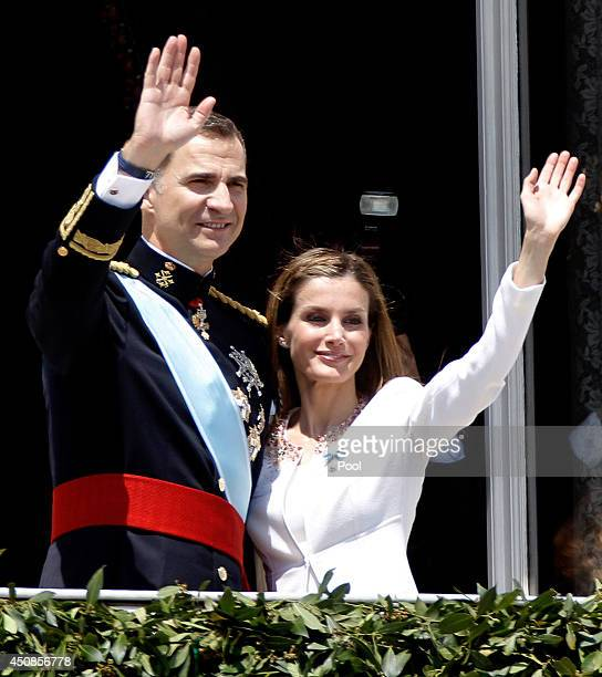 King Felipe VI of Spain and Queen Letizia of Spain appear at the balcony of the Royal Palace during the King's official coronation ceremony on June...