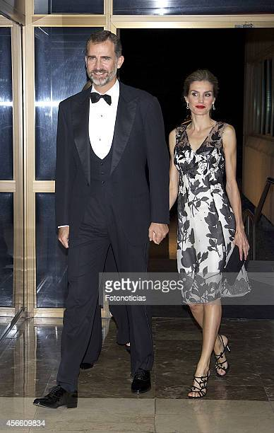 King Felipe VI of Spain and Queen Letizia of Spain attend a dinner in honour of the 'Mariano de Cavia' 'Luca de Tena' and 'Mingote' awards winners at...