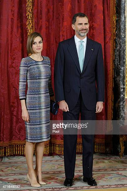 King Felipe VI of Spain and Queen Letizia of Spain attend a lunch in honour of Egyptian President Abdel Fattah alSisi at the Royal Palace on April 30...