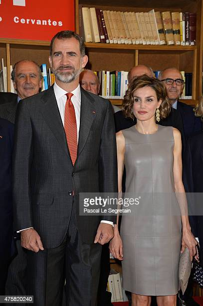 King Felipe VI of Spain and Queen letizia of Spain attend a meeting at the Library of the Cervantes institute on June 4 2015 in Paris France