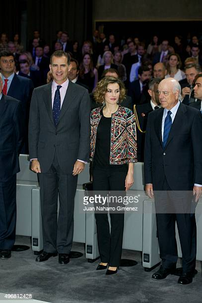 King Felipe VI of Spain and Queen Letizia of Spain attend a meeting with ambassadors of the Spanish Brand at Auditorio Ciudad BBVA on November 12...