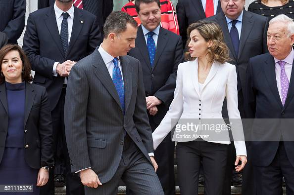 King Felipe VI of Spain and Queen Letizia of Spain attend a meeting for Miguel de Cervantes IV Centenary at Zarzuela Palace on April 14 2016 in...
