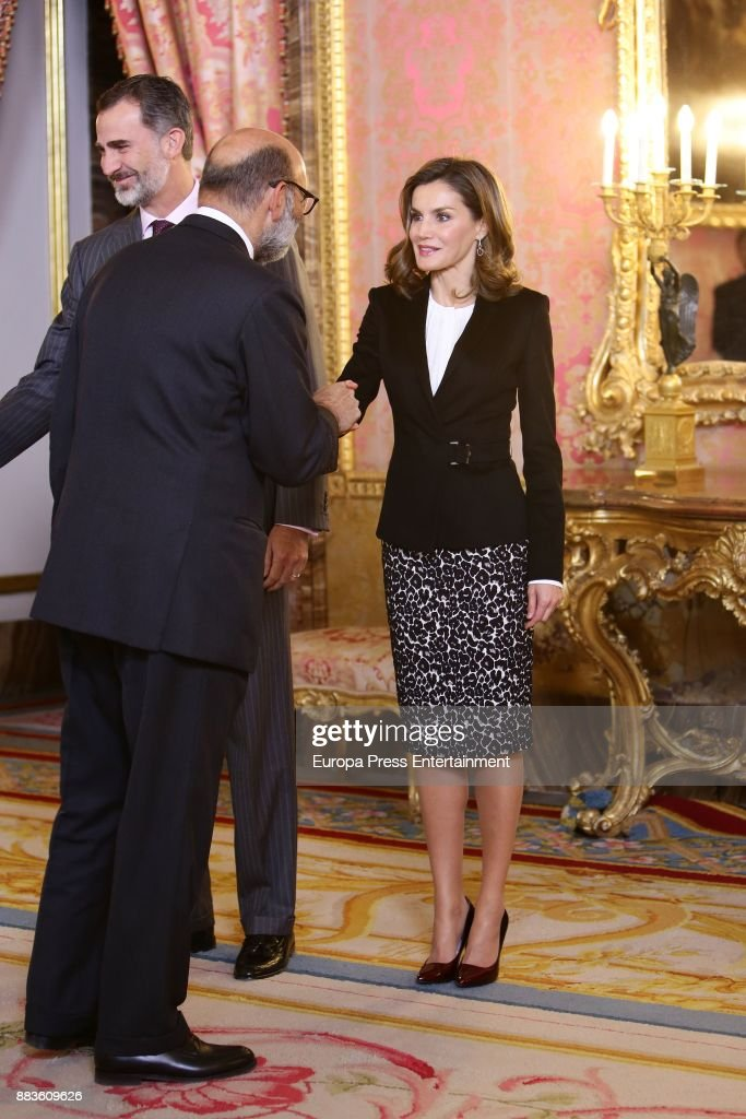 King Felipe VI of Spain and Queen Letizia of Spain attend a meeting with 'Princesa de Girona' Foundation members at the Royal Palace on December 1, 2017 in Madrid, Spain.