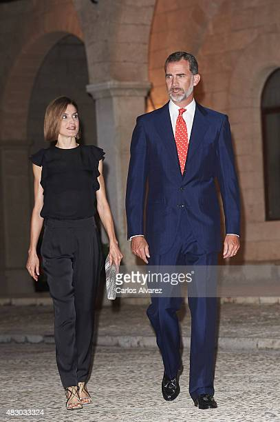 King Felipe VI of Spain and Queen Letizia of Spain attend a official reception at the Almudaina Palace on August 5 2015 in Palma de Mallorca Spain