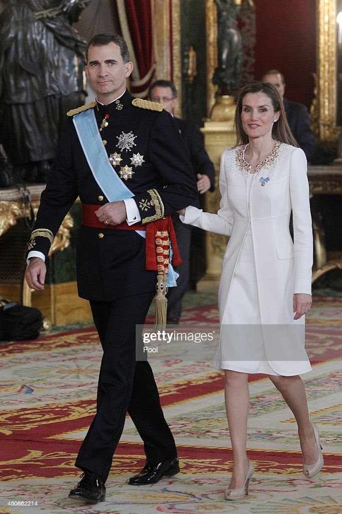 King Felipe VI of Spain and Queen Letizia of Spain attend a reception at the Royal Palace after the King's official coronation at the parliament on June 19 on June 19, 2014 in Madrid, Spain. The coronation of King Felipe VI is held in Madrid. His father, the former King Juan Carlos of Spain abdicated on June 2nd after a 39 year reign. The new King is joined by his wife Queen Letizia of Spain.