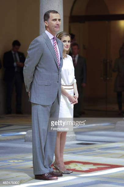 King Felipe VI of Spain and Queen Letizia of Spain attend a reception for members of the 'Ruta Quetzal BBVA 2014' expedition at El Pardo Palace on...