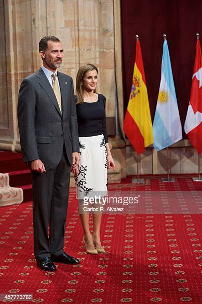 King Felipe VI of Spain and Queen Letizia of Spain attend an audience with Principe de Asturias Awards 2014 winners at the Reconquista Hotel during...