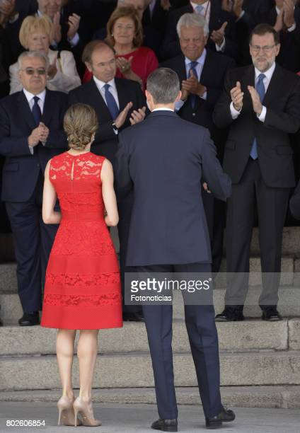 King Felipe VI of Spain and Queen Letizia of Spain attend First Democracy Elections 40th anniversary at the Congress building on June 28 2017 in...