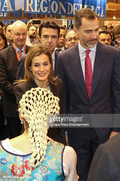 King Felipe VI of Spain and Queen Letizia of Spain attend 'FITUR' International Tourism Fair opening at Ifema on January 28 2015 in Madrid Spain