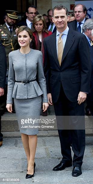 King Felipe VI of Spain and Queen Letizia of Spain attend investiture of honorary doctors by Salamanca's University at Paraninfo of Salamanca's...