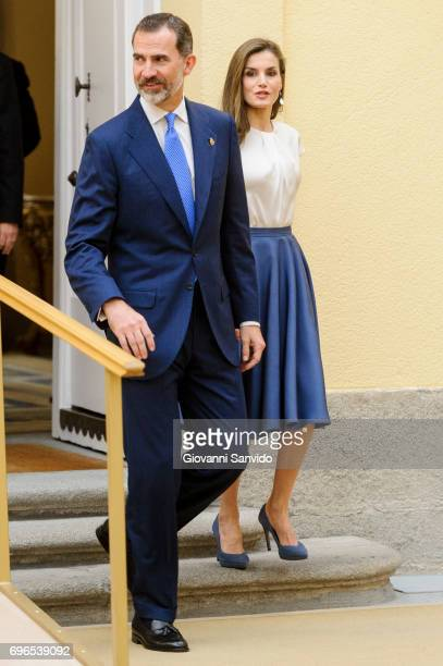 King Felipe VI of Spain and Queen Letizia of Spain attend meet the members of 'Princesa de Asturias Foundation' at El Pardo Royal Palace on June 16...