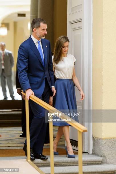 King Felipe VI of Spain and Queen Letizia of Spain attend meet the members of 'Princesa de Asturias Foundation' at El Pardo Royal Palace on June 16...