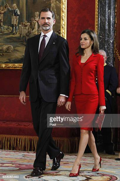 King Felipe VI of Spain and Queen Letizia of Spain attend 'Commemoration Of Cervantes Death' closing ceremony at the Royal Palace on January 30 2017...