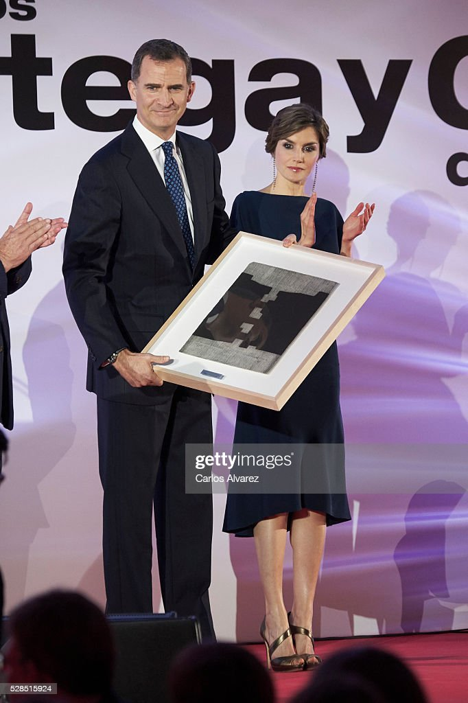 King Felipe VI of Spain and Queen Letizia of Spain attend 'Ortega Y Gasset' journalism awards 2016 at Palacio de Cibeles on May 05, 2016 in Madrid, .