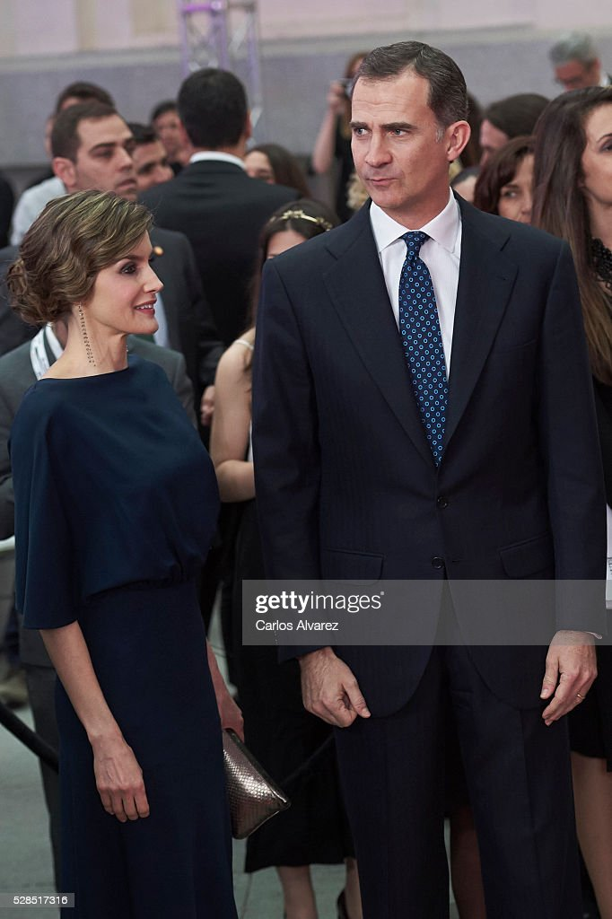 King Felipe VI of Spain and Queen Letizia of Spain attend 'Ortega Y Gasset' journalism awards 2016 at Palacio de Cibeles on May 05, 2016 in Madrid, Spain.