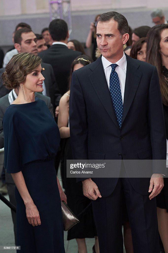 King Felipe VI of Spain and Queen Letizia of Spain attend 'Ortega Y Gasset' journalism awards 2016 at Palacio de Cibeles on May 05, 2016 in Madrid, Spain.