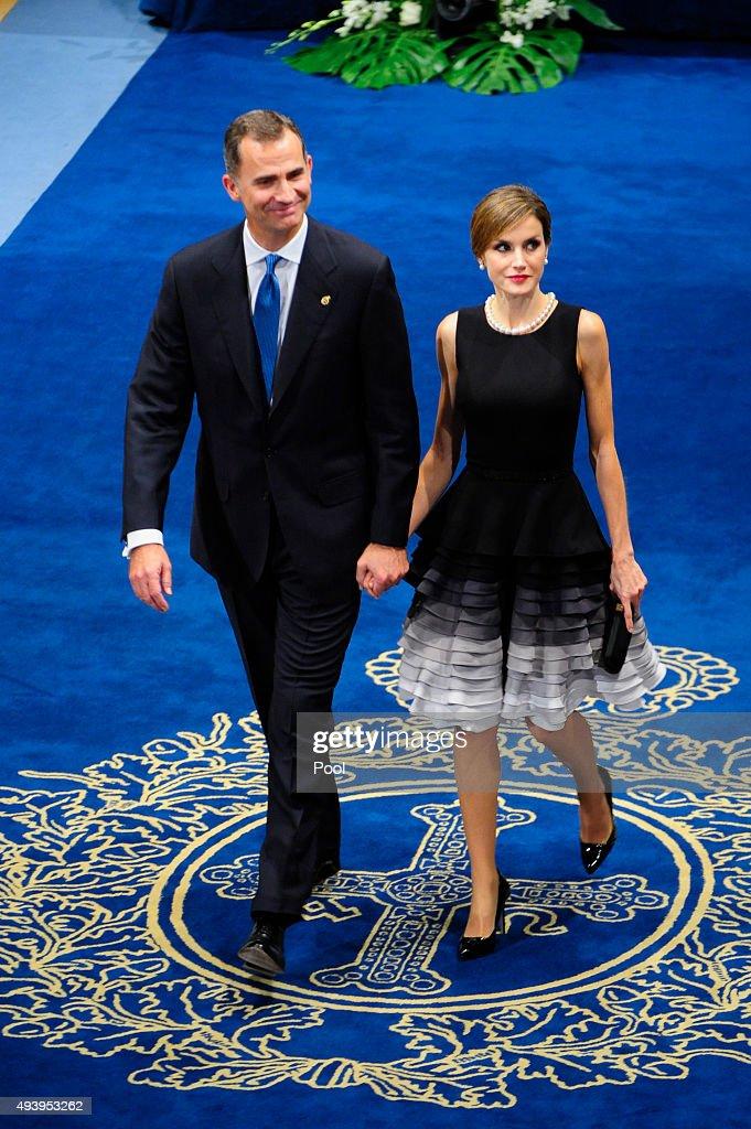 King Felipe VI of Spain and Queen Letizia of Spain attend Princesa de Asturias Awards 2015 on October 23, 2015 in Oviedo, Spain.