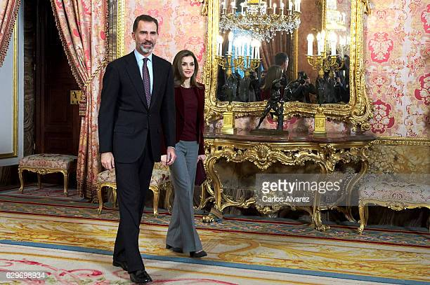 King Felipe VI of Spain and Queen Letizia of Spain attend 'Princesa De Girona' Foundation meeting at the Royal Palace on December 14 2016 in Madrid...