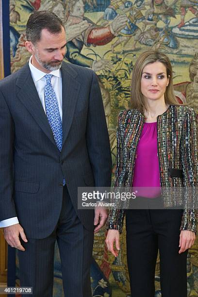 King Felipe VI of Spain and Queen Letizia of Spain attend several audiences at Zarzuela Palace on January 9 2015 in Madrid Spain