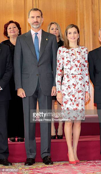 King Felipe VI of Spain and Queen Letizia of Spain attend several audiences at Reconquista hotel during the 'Princess of Asturias 2016 Awards on...