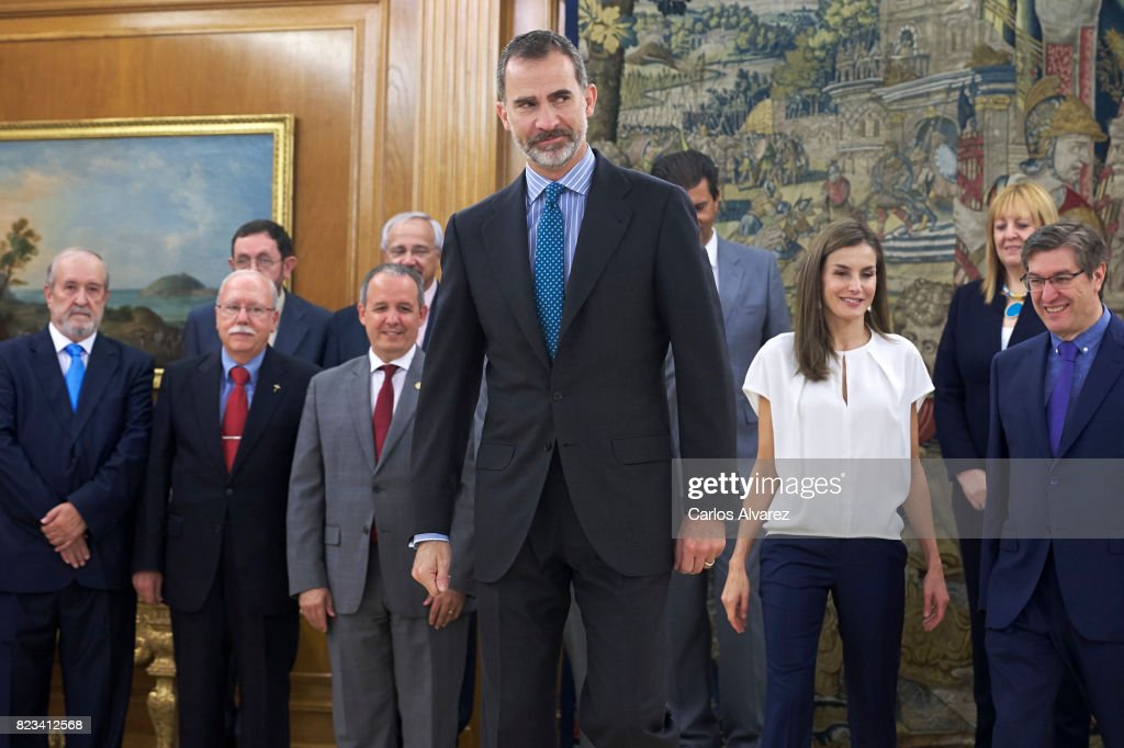 King Felipe VI of Spain (C) and Queen Letizia of Spain (R) attend several audiences at Zarzuela Palace on July 27, 2017 in Madrid, Spain.