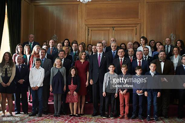 King Felipe VI of Spain and Queen Letizia of Spain attend several audiences during the 'Princess of Asturias' Awards 2015 at the Reconquista Hotel on...