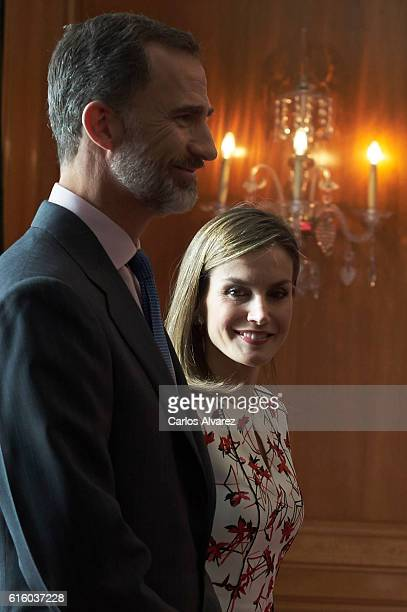 King Felipe VI of Spain and Queen Letizia of Spain attend several audiences during the Princess of Asturias awards 2016 at the Reconquista Hotel on...