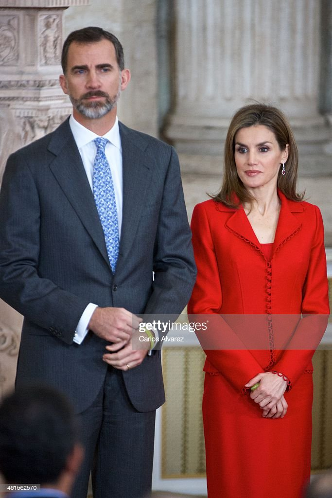 King Felipe VI of Spain and Queen Letizia of Spain attend the Investigation National Awards 2014 at the Royal Palace on January 15, 2015 in Madrid, Spain.
