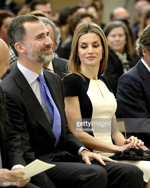 King Felipe VI of Spain and Queen Letizia of Spain attend the 'National Culture Awards' 2015 ceremony at El Pardo Palace on February 16 2015 in...